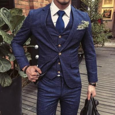 お洒落 イギリス風メンズセットアップスーツ 3点セット 上下セット紳士シングルスーツ 結婚式 チェック柄