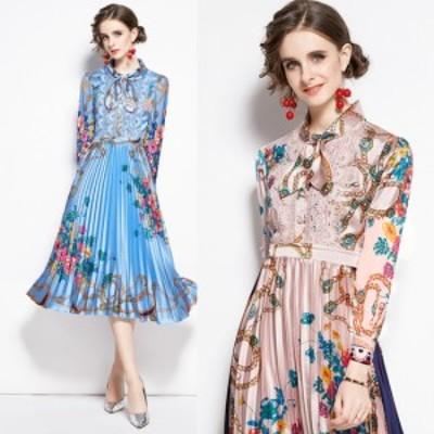 40代のレデースファッション 大きいサイズのレディースワンピース 秋冬 プリーツ ワンピース 華やか プリント柄 エレガント 結婚式 パー
