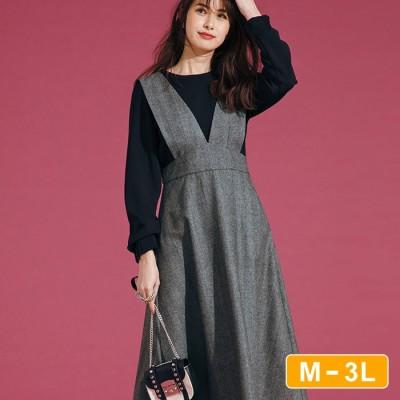 Ranan 【M~3L】V開きジャンパースカート ブラック M レディース