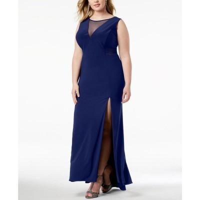 モルガン Morgan & Company レディース パーティードレス ワンピース・ドレス Plus Size Mesh-Inset Gown Navy