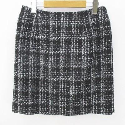 【中古】ディーエイチシー DHC チェック柄 膝上 ミニ タイトスカート ツイード 11 黒 ブラック 綿 コットン 毛 ウール