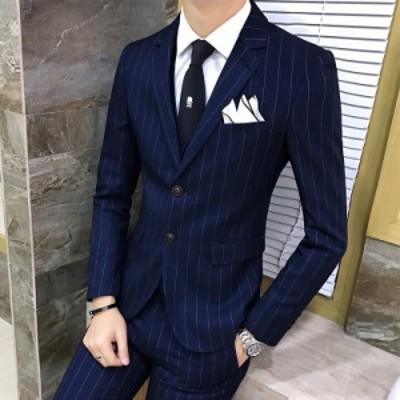 スリーピーススーツ 紳士ビジネススーツ メンズ スーツセット ベスト付き スリムスーツ通常 出張 結婚式 お洒落ストライプ