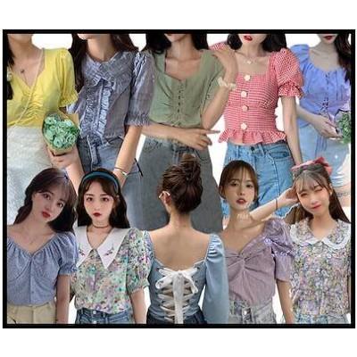 夏新作韓国ファッション/ブラウス/着痩せ トップス/カットソー/アウター/シャツ/半袖/花柄/フリル/Tシャツ/韓国ファッション