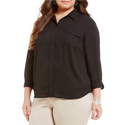 インベストメンツ レディース シャツ トップス Plus Size Olivia Long Sleeve Button Front Utility Blouse