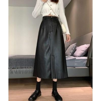 スカート フェイク レザー ロング フレア スカート SVEC /シュベック