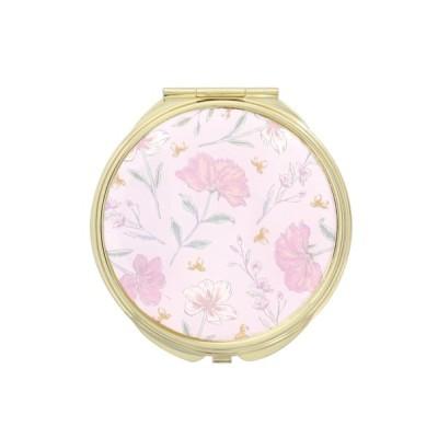手鏡 ミラー 拡大鏡 キラキラ プレゼント コンパクトミラー ボタニカルパターン GMR0146-PK ピンク 雑貨 おしゃれ かわいい