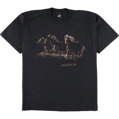 DIAMOND DUST 馬柄 ラメプリント アニマルプリントTシャツ USA製 メンズXL /eaa162743