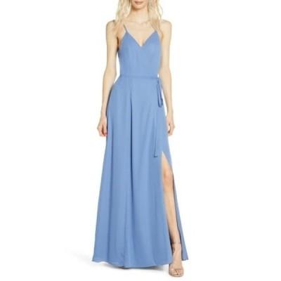 ワイフ レディース ワンピース トップス The Angelina Slit Wrap Gown EVENING BLUE