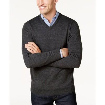 クラブルーム Club Room メンズ ニット・セーター Vネック トップス Regular-Fit Solid V-Neck Merino Sweater Ebony Heather