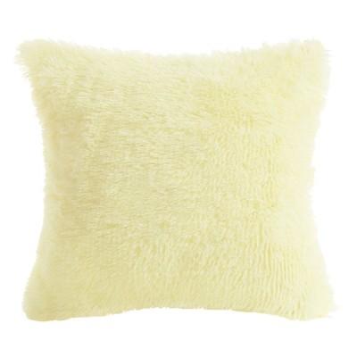 uxcell ファジークッション スロー 枕 ケース フェイク ファー ファジークッション カバー 装飾 ライト イエロー