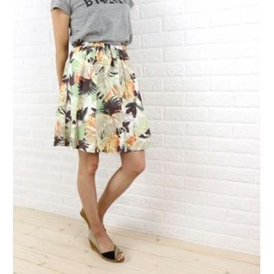 Dee Flavor(ディーフレイバー) コットン膝丈 ボタニカルプリントギャザースカート・440024・0501501    レディース 女性 誕生日プレゼン