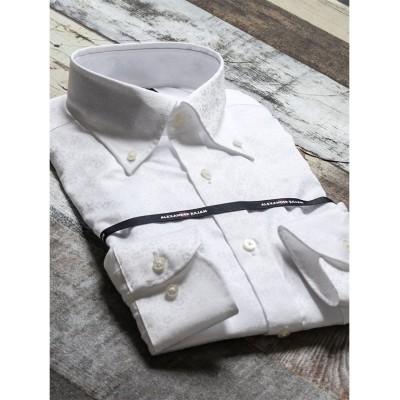 【タカキュー】 綿100%100双 形態安定スリムフィットボタンダウン長袖ビジネスドレスシャツ メンズ ホワイト S:37-80 TAKA-Q