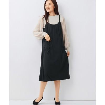 大きいサイズ (UVカット・吸汗速乾)ギャザーたっぷりカットソーキャミワンピース ,スマイルランド, ワンピース, plus size dress