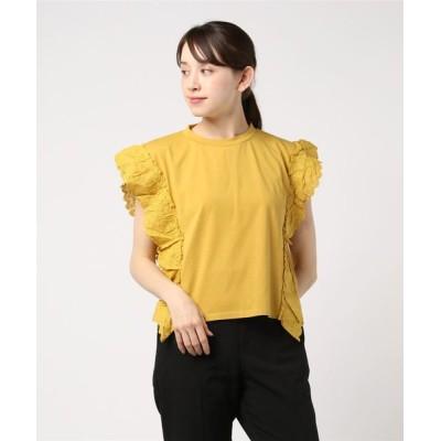 tシャツ Tシャツ 天竺コットンレースフリルTシャツ