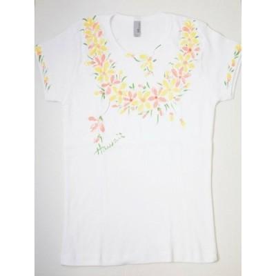 Tシャツ ハイビスカス Mサイズ ホワイト イエロー ハワイ 女性 レディース