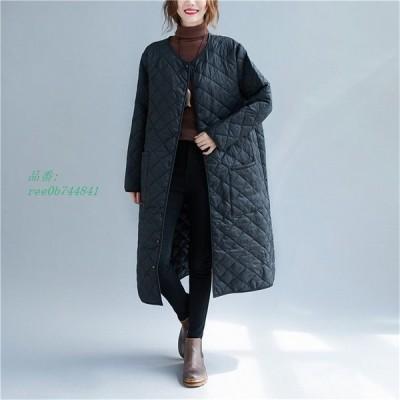 中綿コート コート ロング レディース 軽量 チェスターコート 体型カバー 黒 無地 ゆったり アウター 冬 コート ロング 40代 キルティングコート 大きいサイズ