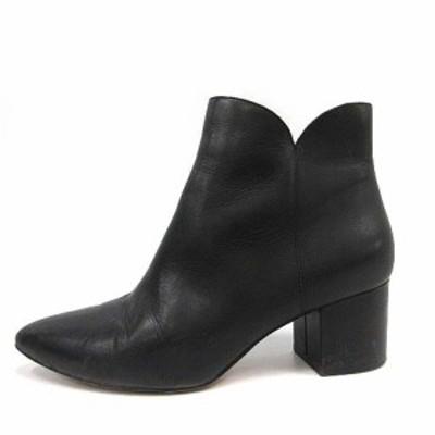 【中古】コールハーン エリズ ブーティー ブーツ ショート チャンキーヒール レザー 黒  6.5B W14979 /YO2 レディース