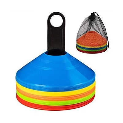 BiAnYC マーカーコーン トレーニングコーン コンパクト マーカーディスク サッカー/フットサル用 カラーコーン 5色 50枚セット収納