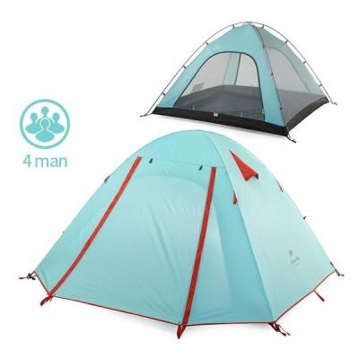 テント Naturehike P シリーズ古典的なキャンプテント 210 T 生地 4 人 UPF 50 + NH15Z003-P sky blue