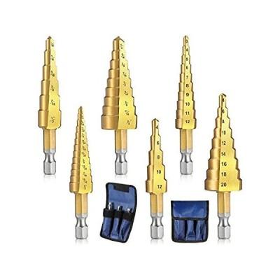 新品・未使用・海外で人気6 Pieces Step Drill Bit Set 1/4 Inch Hex Shank HSS Titanium Coated Metal Ho[並行輸入品51]