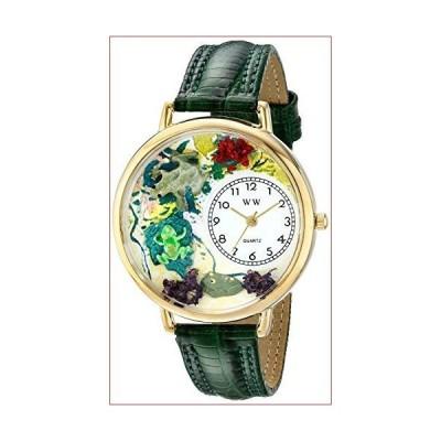 (新品)蛙 緑レザー ゴールドフレーム 時計 #G0140001