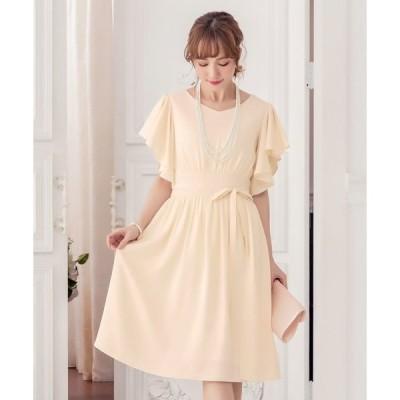 ドレス ウエストリボン付き巻きスカート風デザインフレアスリーブギャザーワンピース