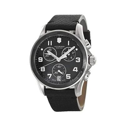 Swiss Army Black Dial Stainless Steel Case Black Leather Chrono Watch 241544.1 海外輸入商品