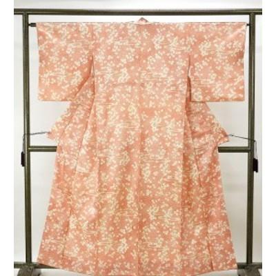 小紋 アウトレット 正絹 霞桜模様 小紋 中古 着物
