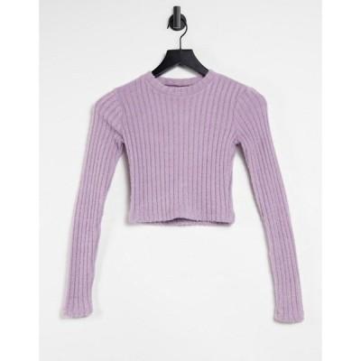 プル&ベアー Pull&Bear レディース トップス Soft Touch Ribbed Long Sleeve Top In Lilac ライラック