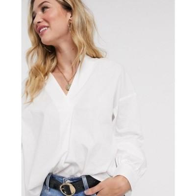 ヴィラ Vila レディース ブラウス・シャツ Vネック トップス oversized v neck shirt ホワイト