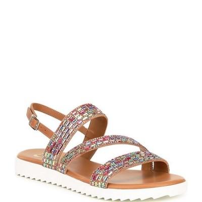 ジービー レディース サンダル シューズ Lumi-Nous Rainbow Rhinestone Embellished Leather Flatform Sandals