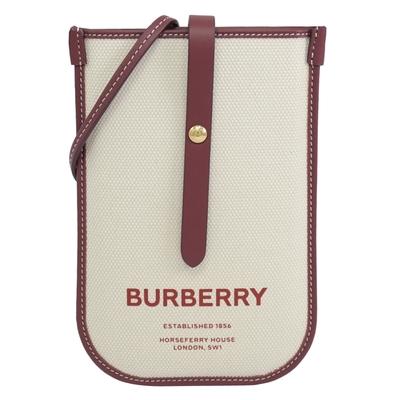 BURBERRY Anne 燙印品牌LOGO斜背釦式手機包(米/酒紅)