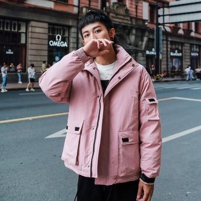 ダウンジャケット メンズ ショートコート ダウンコート ファスナー ゆったり 防寒 防風 厚手 冬 カッコイイ