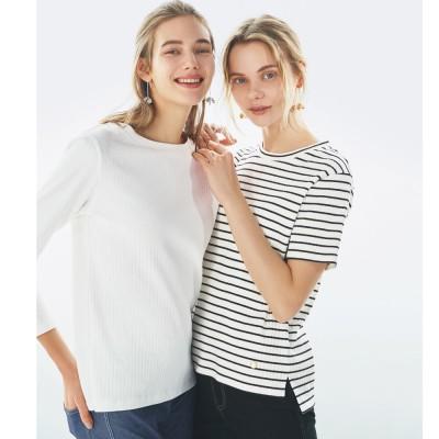 超長綿スビンギザコットン ワイドリブTシャツ ボーダー M