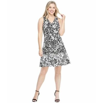 マギーロンドン ワンピース トップス レディース Cotton Floral Fit-and-Flare Dress Black/Soft White