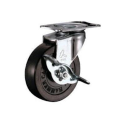 トラスコ中山 tr-1253883 ハンマー Eシリーズ旋回式ゴム車輪 75mm ストッパー付 (tr1253883)