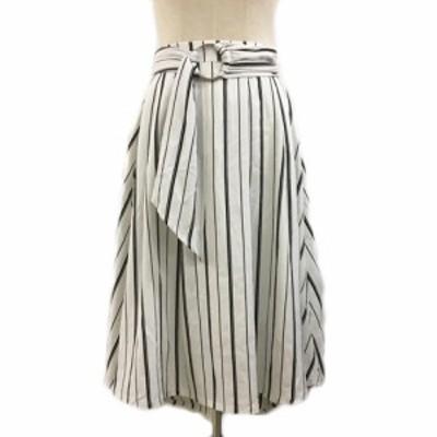 【中古】ルーミィーズ Roomy's スカート フレア ロング ストライプ フィッシュテール ベルト付き F 白 黒