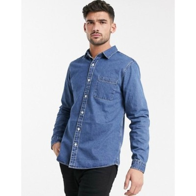 リバーアイランド メンズ シャツ トップス River Island denim shirt in mid wash blue