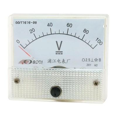 uxcell ボルトメーター 85C1 DC 0-100V アナログ電圧計 パネルメーター アナログ電圧計 小型サイズ
