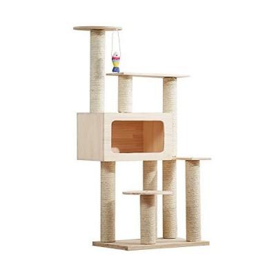 WYQWANLJX ペットデラックスマルチレベル猫ツリー、キャットタワーアクティビティセンター 3層キャットクライミ