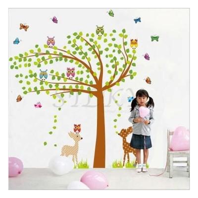 (バンビとふくろうツリー) ウォールステッカー ウォール ステッカー シール 北欧  自然 はがせる 壁紙  子供にも安心♪ カラフル/アニマル/木