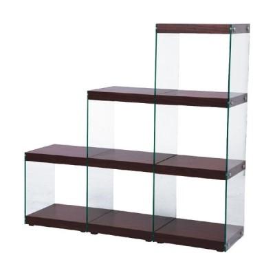 オープンラック ガラス 収納 インテリア 階段 ラック ハブ 幅123cm高さ121cm 3段 ブラウン シェルフ ディスプレイラック 安い
