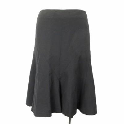 【中古】ラルフローレン RALPH LAUREN スカート フレア ウール ひざ丈 無地 黒 7 IBS94 レディース