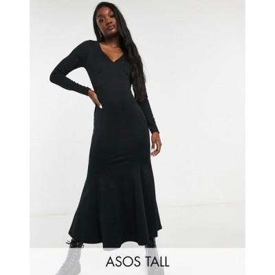 エイソス ASOS Tall レディース ボディコンドレス Vネック タイト ミドル丈 Tall midi bodycon dress with fishtail and v neck in black ブラック
