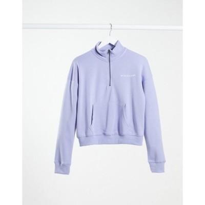 ミスガイデッド レディース パーカー・スウェットシャツ アウター Missguided half zip sweatshirt set in blue Blue