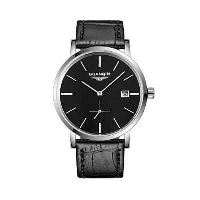 Guanqin Men's Calendar Analog Automatic Self Winding Mechanical Wrist Watch with Stainless Steel Case and Leather Strap (4 Silver Black) 並行輸入