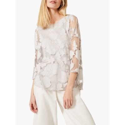フェイズ・エイト シャツ レディース トップス Phase Eight Michelle Floral Burnout Top, Soft Grey