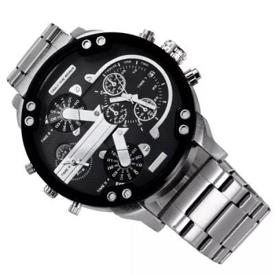 メンズステンレススチール製スポーツウォッチ,大型時計,ファッショナブル,カジュアル,ビジネス,