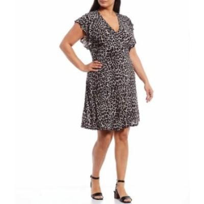 マイケルコース レディース ワンピース トップス MICHAEL Michael Kors Plus Size Cheetah Print Matte Jersey V-Neck Flutter Cap Sleev
