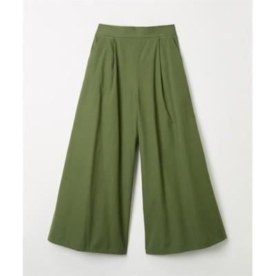 ハリ感のある綿ウエザー素材ウエストタックワイドパンツ (レディースパンツ)Pants
